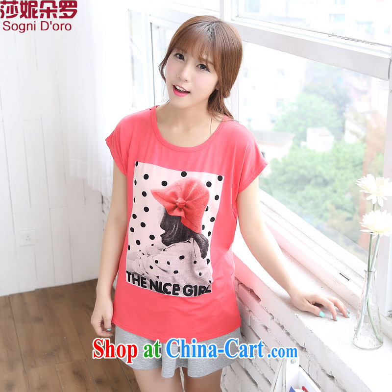 Laurie, flower special XL women mm thick summer new 2014 Korean version with stamp duty loose video thin T-shirt T-shirt 6728 pink 4 XL