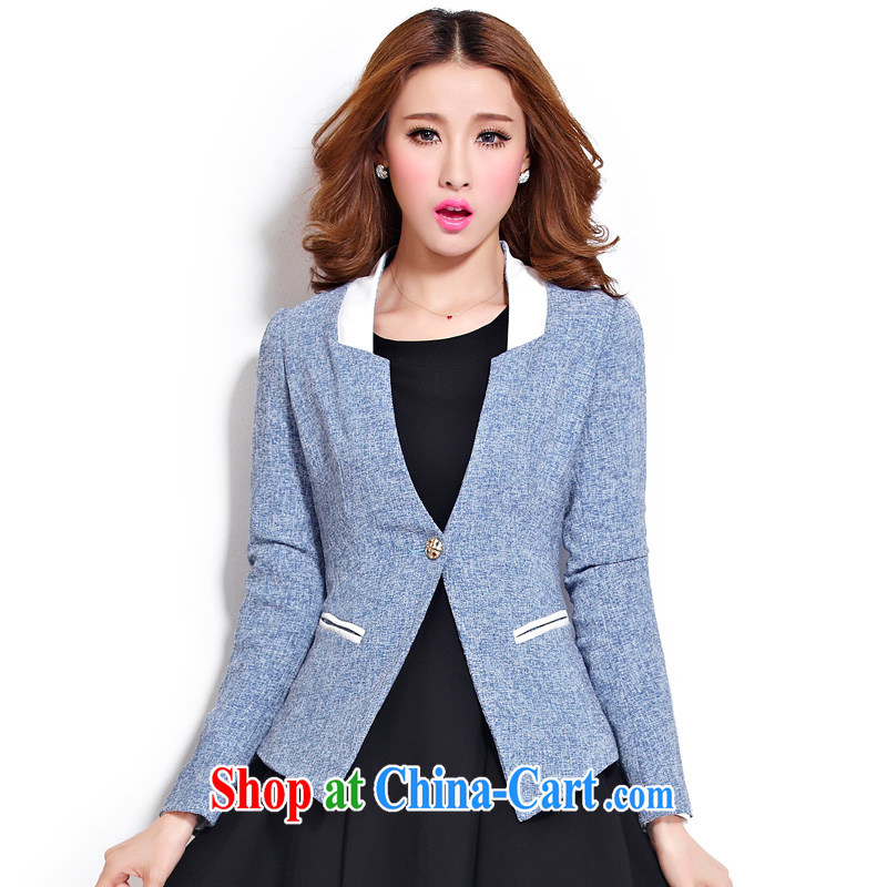 cheer for the code women with thick MM autumn and winter, the United States and Europe a thick sister graphics thin long-sleeved jacket Item No. 2282 blue 5 XL