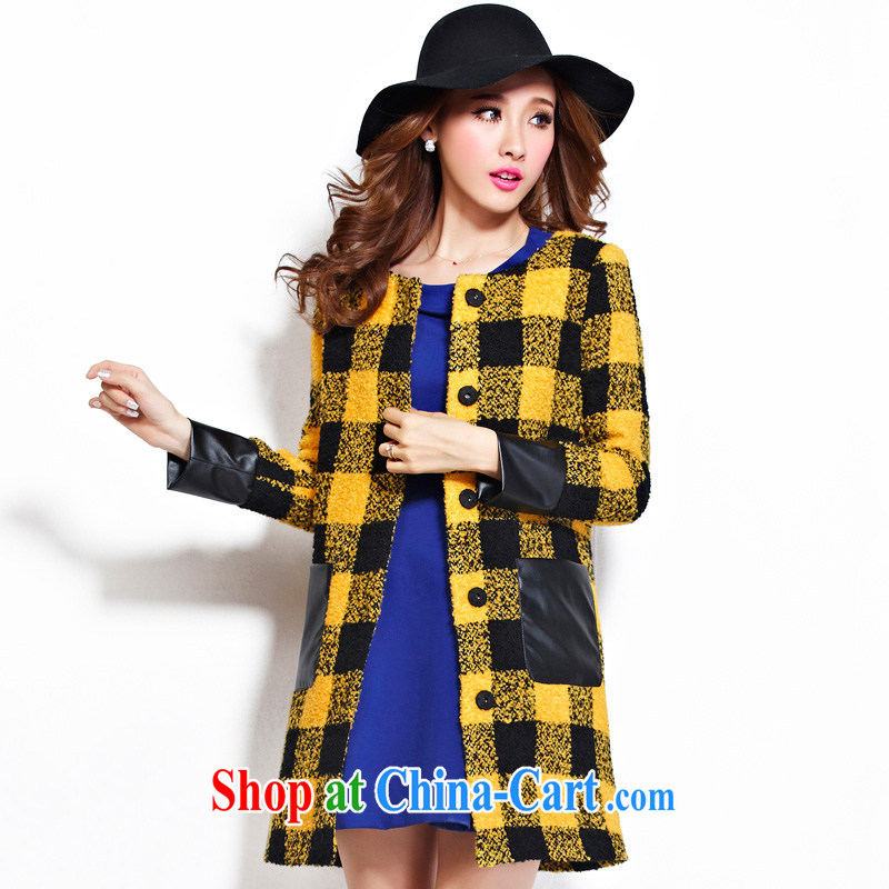 cheer for the code female thick MM fall and winter new big grid thick sister graphics thin long fleece jacket is the number 2281 Huang 5 XL