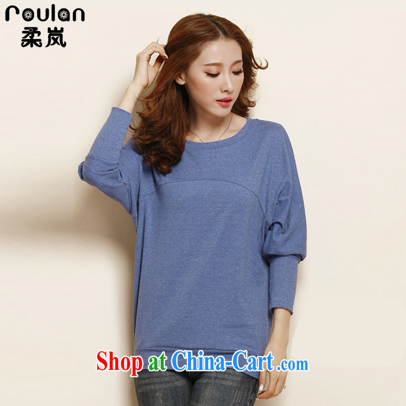 Sophie sponsors the ventricular hypertrophy, thick MM 2015 spring and summer new women new explosions, Korean cashmere bat sleeves shirt solid 1127 cowboy blue 5XL