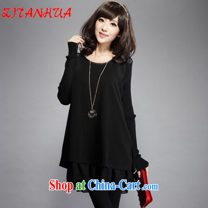 First Pan spring 2015 new Korean loose larger female thick sister dresses black XXXXXL