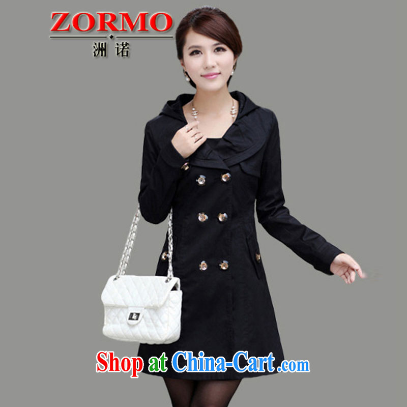 ZORMO Korean women mm thick and fat increases, the lapel, long windbreaker bowtie girl jacket black 6 XL 195 - 215 jack