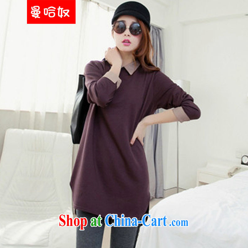 Cayman, slavery 2015 spring new larger women mm thick solid long-sleeved T-shirt thick sister long large graphics thin large code T pension incense line first XXXL