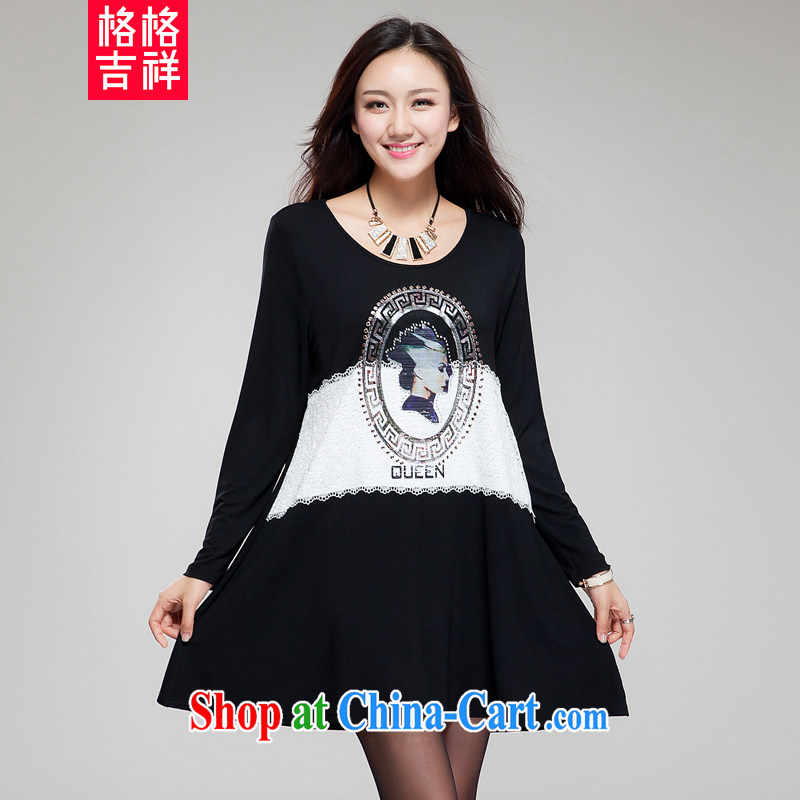 Huan Zhu Ge Ge Ge 2015 new Korean version XL girls thick MM graphics thin knocked color tile with sepia stamp hot drill very casual dress SM 25 black 4 XL (190 jack - 210 Jack through)