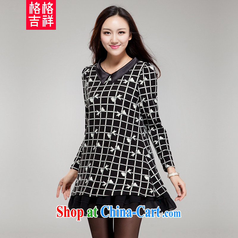 Huan Zhu Ge Ge Ge 2015 XL girls thick MM graphics thin new Korean lapel stamp grid relaxed beauty dresses SM 21 black 4 XL _191 jack - 210 Jack through_