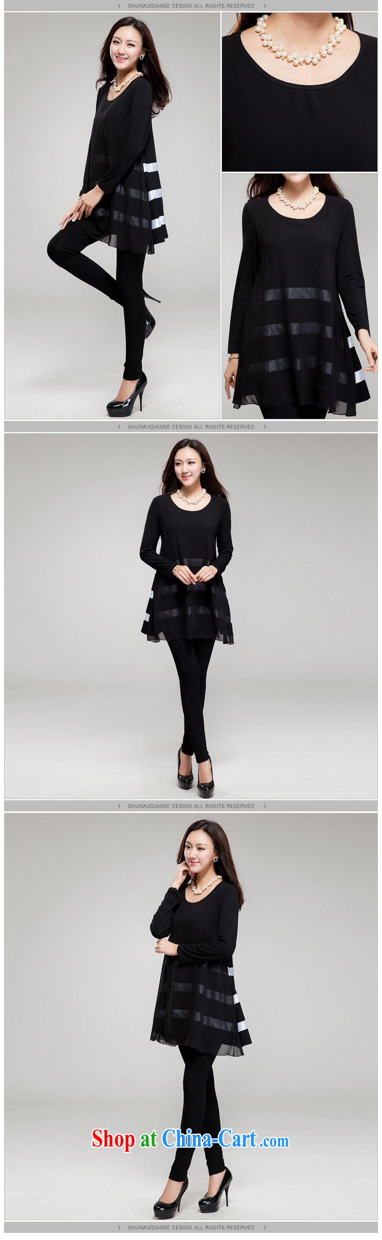 Huan Zhu Ge Ge Ge new Korean XL female fat, Video thin round-collar stitching streaks relaxed beauty dresses SM 15 black 2 XL (145 jack - 155 Jack through) pictures, price, brand platters! Elections are good character, the national distribution, so why buy now enjoy more preferential! Health