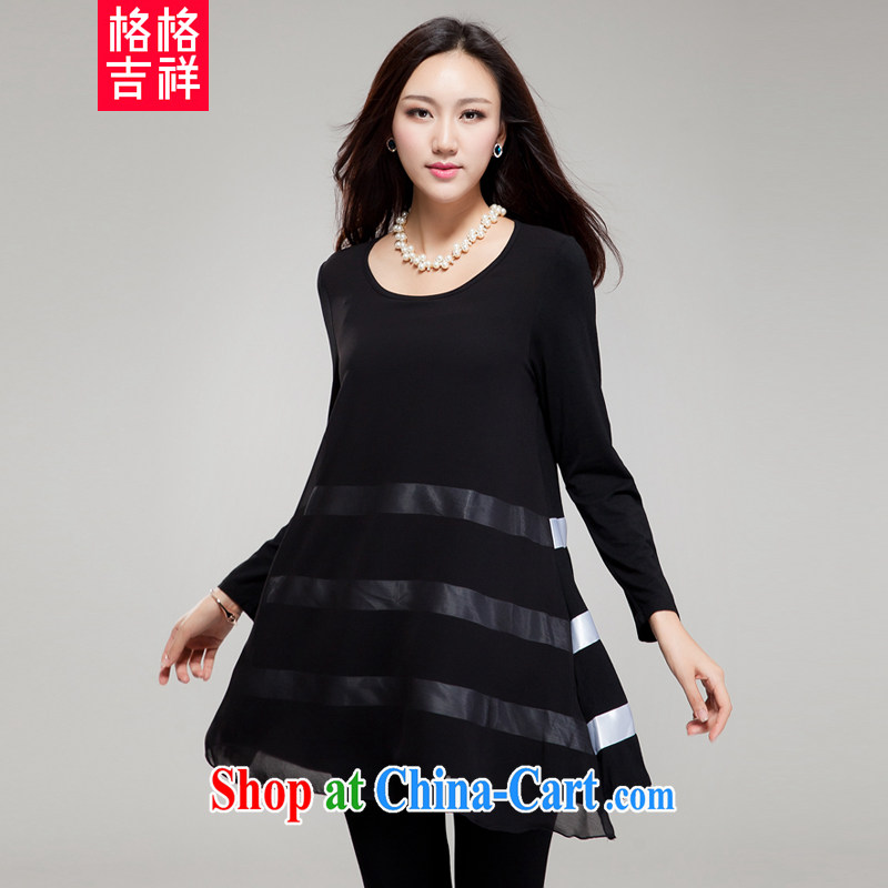 Huan Zhu Ge Ge Ge new Korean XL female fat people graphics thin round-collar stitching streaks relaxed beauty dresses SM 15 black 2 XL _145 jack - 155 Jack through_