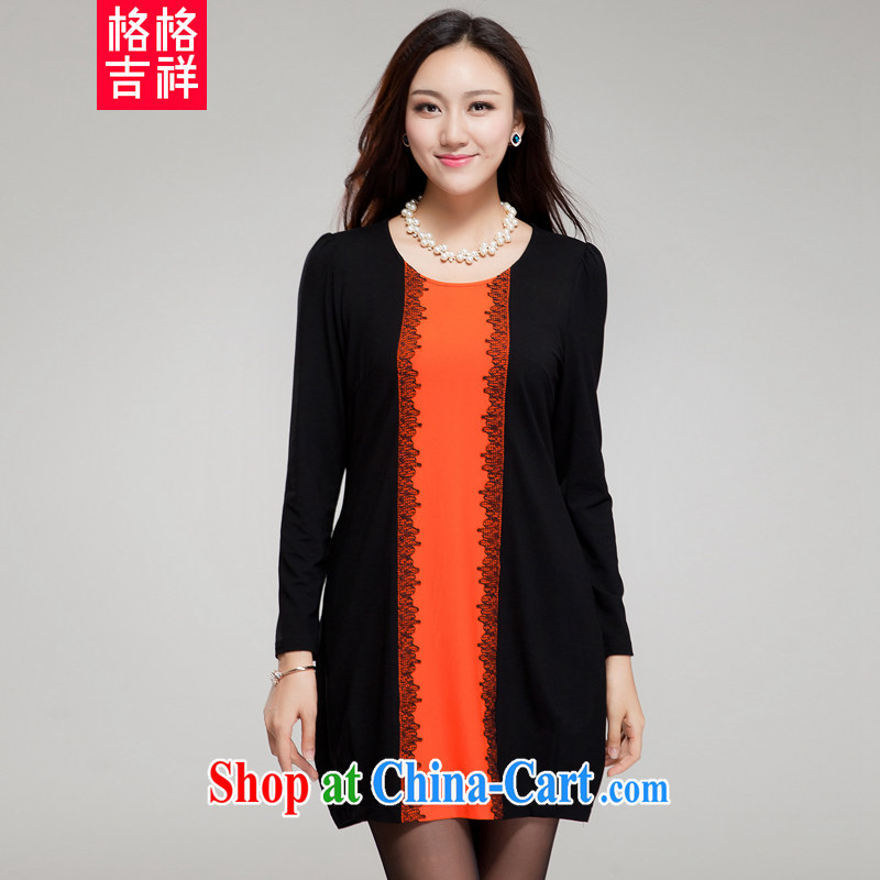 Huan Zhu Ge Ge Ge new Korean XL female fat people graphics thin round-collar spell color loose dress SM 005 black 4XL _191 jack - 210 Jack through_