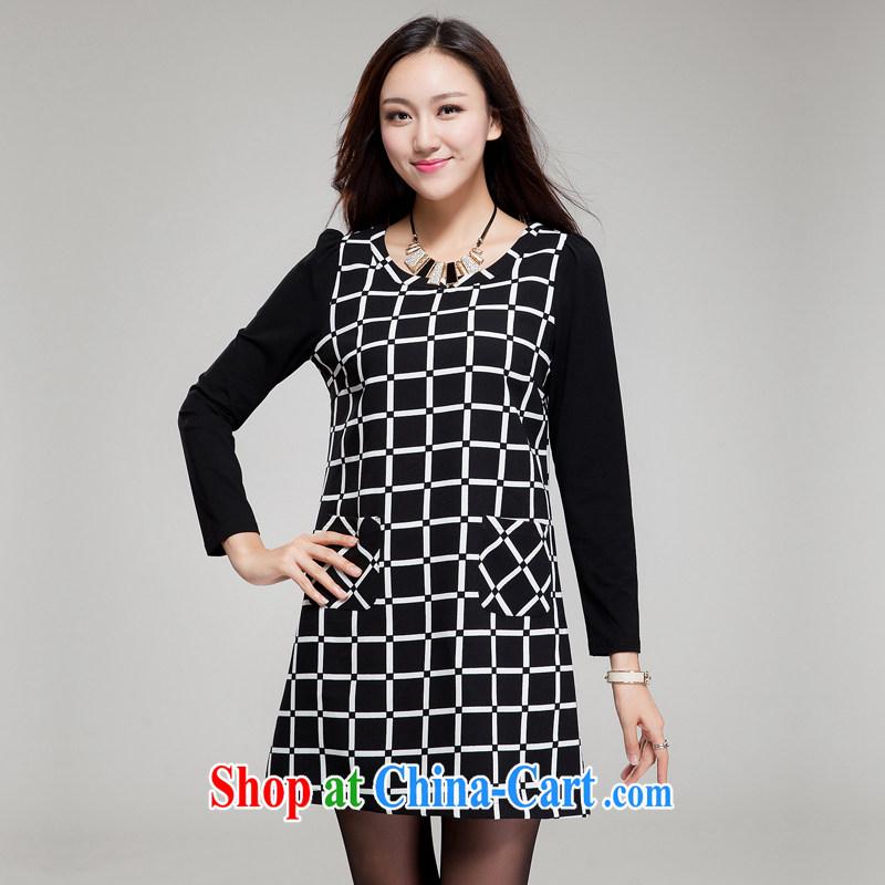 Huan Zhu Ge Ge Ge 2015 XL girls with thick, graphics thin new Korean relaxed beauty tartan dresses SM 002 black 4XL (191 jack - 210 jack wear), Princess auspicious, shopping on the Internet