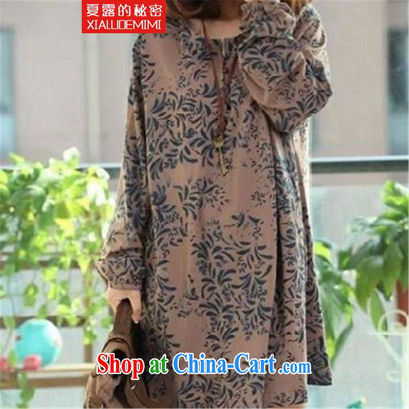 Summer terrace of the secret 2015 Korean version cotton the female loose the code arts van stamp long-sleeved dresses card its color the code L