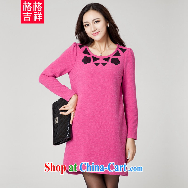 Huan Zhu Ge Ge Ge new Korean version XL girls thick MM graphics thin round-collar relaxed casual knit embroidered dresses clearance SM 39 red 4 XL _191 jack - 210 Jack through_