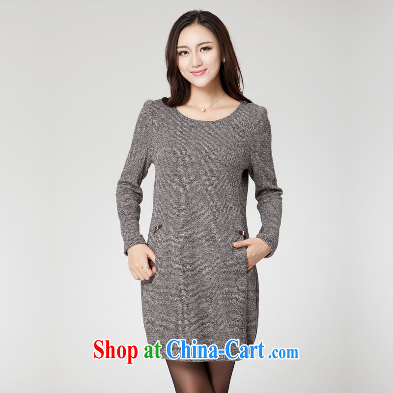 Huan Zhu Ge Ge Ge new Korean version XL girls thick MM graphics thin round-collar beauty loose knitted dresses SM 38 gray 4 XL (191 jack - 210 jack wear), Princess auspicious, shopping on the Internet