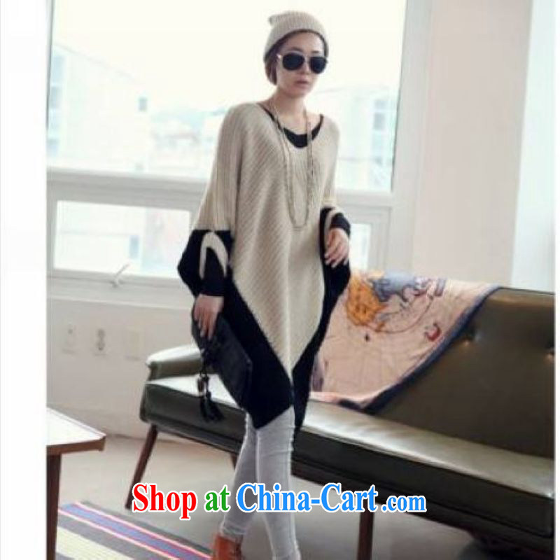 Flexible early spring 2015 the Korean version of the greater Code women mm thick loose the fat 200 Jack spell color bat sweater card +black are code