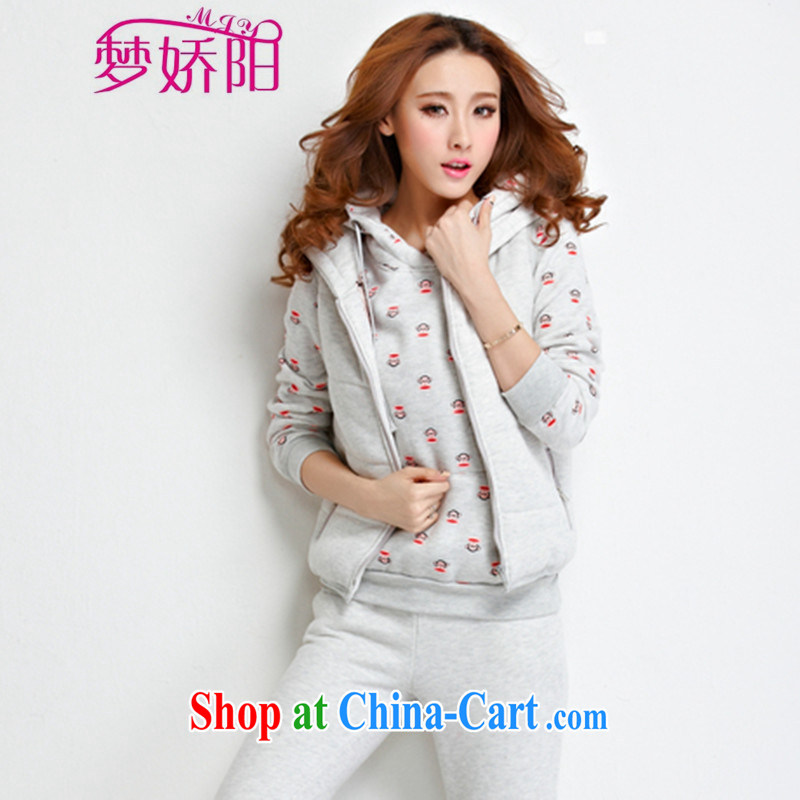 Women fall and winter fashion Korean Leisure package monkey stamp duty and lint-free cloth thick sweater 3-Piece white suit XXL