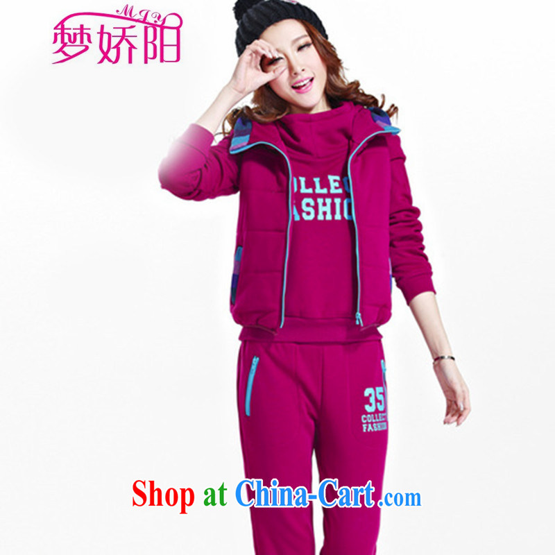 New popular and lint-free cloth, clothing and 3 piece set thick Kit female winter graphics thin uniforms Leisure package Korean rose red XXL