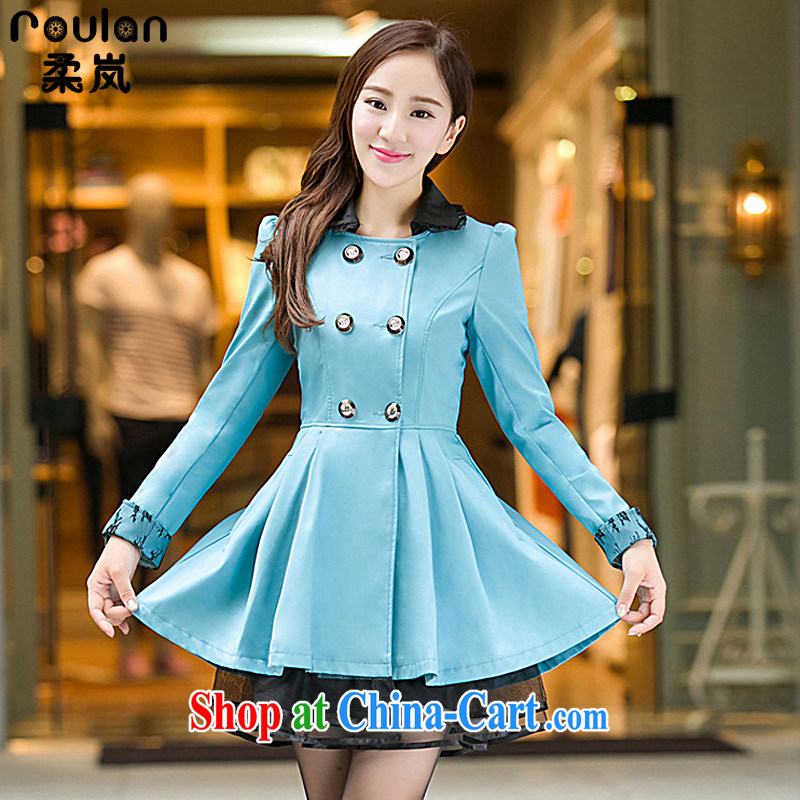 ROULAN_Sophie sponsors the fat XL thick MM Korean women spring 2015, new, long, wind jacket 6 XL 8199 blue 6 XL