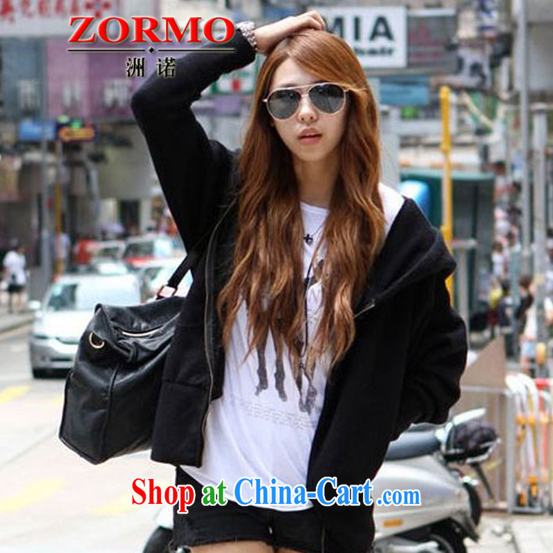 ZORMO Korean female autumn and winter, thick mm larger jacket leisure cap girls knitted T-shirt black XXXXL 165 - 185