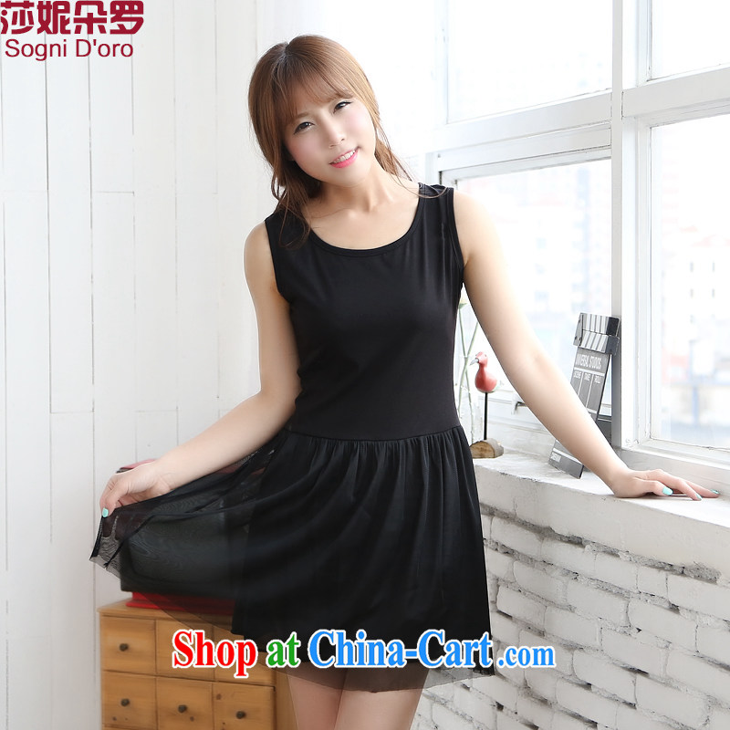 The limited-time clearance -- that is, XL women mm thick summer 2014 new round-collar graphics thin beauty Web yarn vest dress 6722 black 4XL