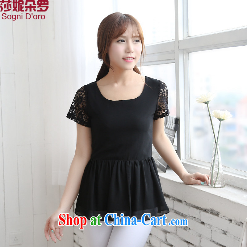 The fat XL women mm thick summer new 2014 lace graphics thin flouncing swing shirt T shirt T-shirt 6714 black 4XL