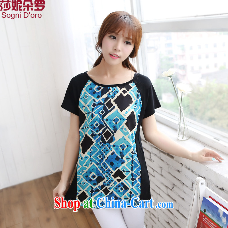 Special offers are indeed the XL women mm thick 2014 summer simple round-collar short-sleeve graphics thin loose stamp T-shirt 6726 light blue 6 XL
