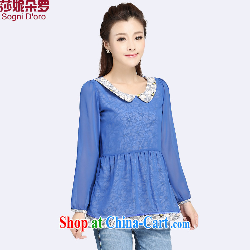 Laurie flower, FAT and FAT increases, female 2014 thick sister 200 Jack Choo loading new Korean snow woven bubble cuff video thin T shirt T-shirt 4011 blue 4 XL