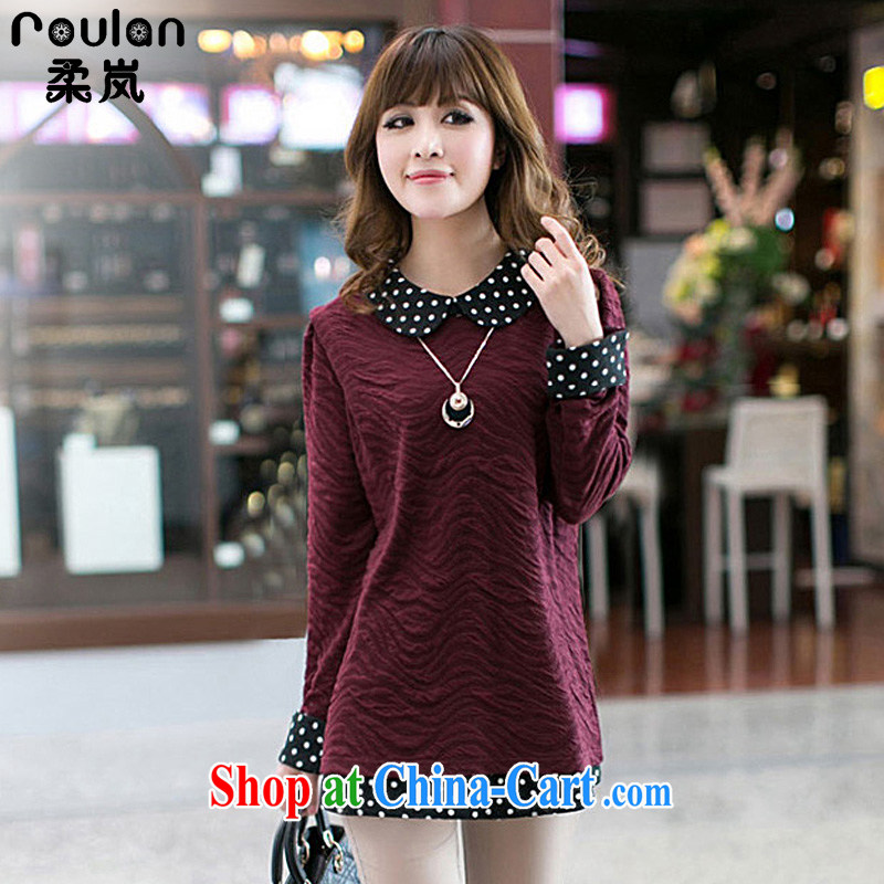Sophie was indeed the XL thick MM 2015 spring and summer with new women new explosions, girls with the collision is solid color long-sleeved shirt T 8011 wine red 3 XL