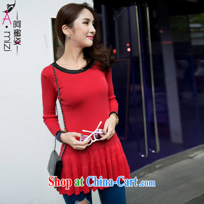The honey and diverse expertise MM large code female autumn the new Korean flouncing graphics thin stretch with solid knit sweater girl 9040 red 3 XL code 165 200 jack
