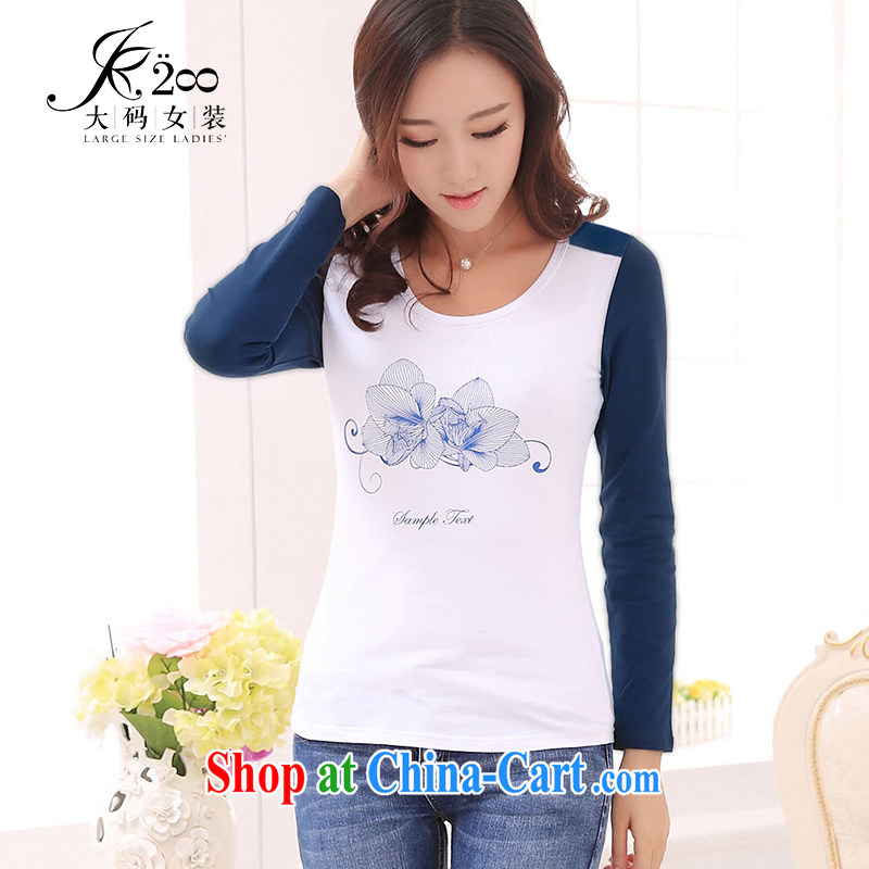 JK .,200 Spring and Autumn new products, women video thin solid T-shirt T-shirt long-sleeved long T pension TA 43,102 Tibetan blue 4XL