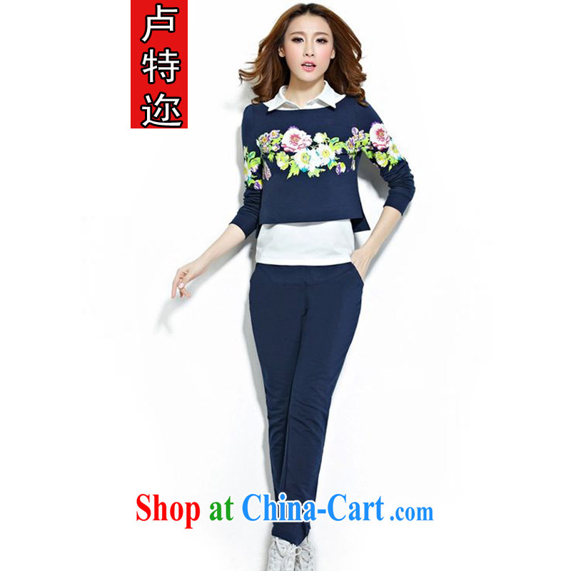 The ethnic cleansing 2014 autumn and winter new Korean long-sleeved sweater 3 piece set the code leisure stylish package graphics thin, Sports Kit 6801 BMW blue XXL