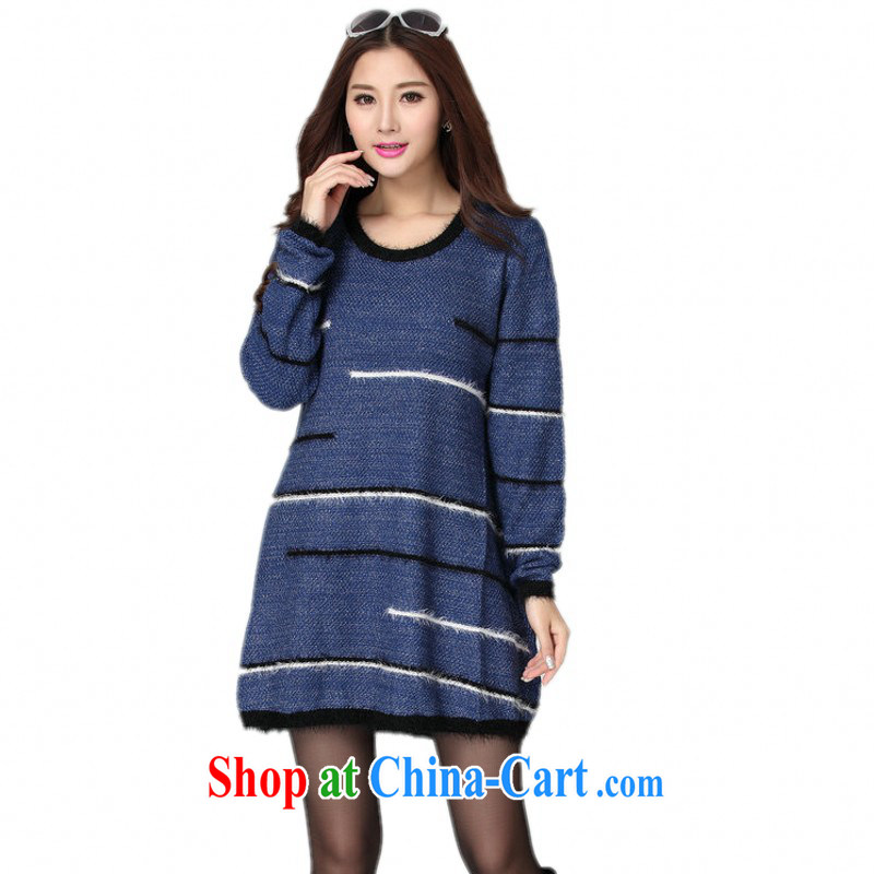 Constitution, colorful package mail female large code sweater gown Korean autumn and winter new minimalist round-collar long-sleeved, loose dress knocked Color Lounge Knitting a blue are code for 130 - 180 jack