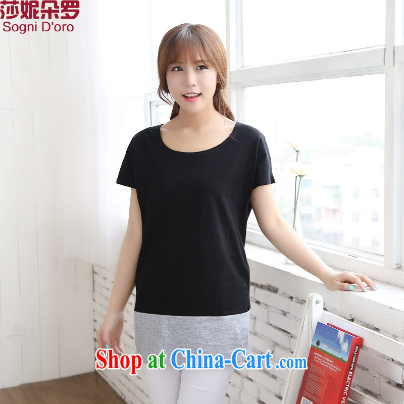 The limited-time clearance  Intensify, women with thick mm summer new 2014 graphics thin, large short-sleeve T-shirt 6713 black 4XL