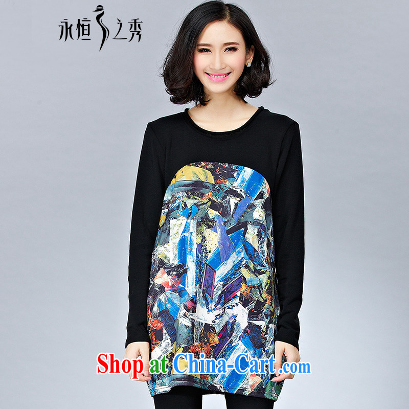 Eternal show 2014 autumn and winter, the larger female American digital stamp long-sleeved dresses, wear solid black 3 XL