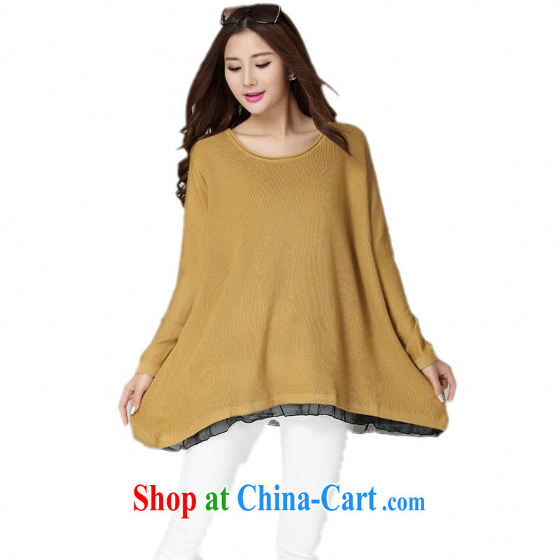 Constitution, colorful package mail the fat King, knitted T-shirts autumn and winter, the simple and casual loose, knitted gown video thin lady long-sleeved solid yellow are code for 130 - 180 jack