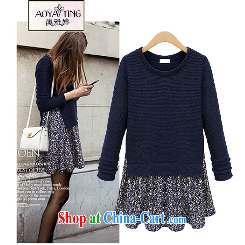 o Ya-ting 2015 Spring and Autumn and new Europe and indeed the XL girls leave of two piece floral stitching long-sleeved dresses HM possession 64 cyan 5 XL recommends that you 175 - 200 jack