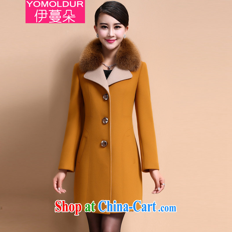 The evergreens flower winter 2014 Korean gross for the code women in long Cashmere wool coat this jacket female DM 603 yellow M