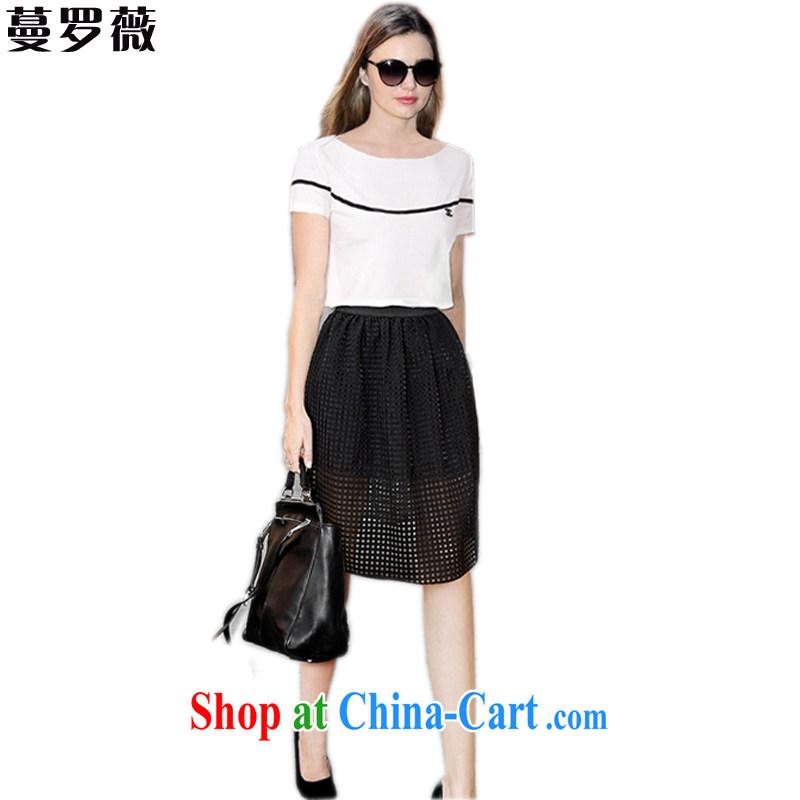 Mephidross, Ms Audrey EU 2015 summer new, larger female American cotton Ma T-shirt double Openwork dress Kit L 128 photo color XXXL