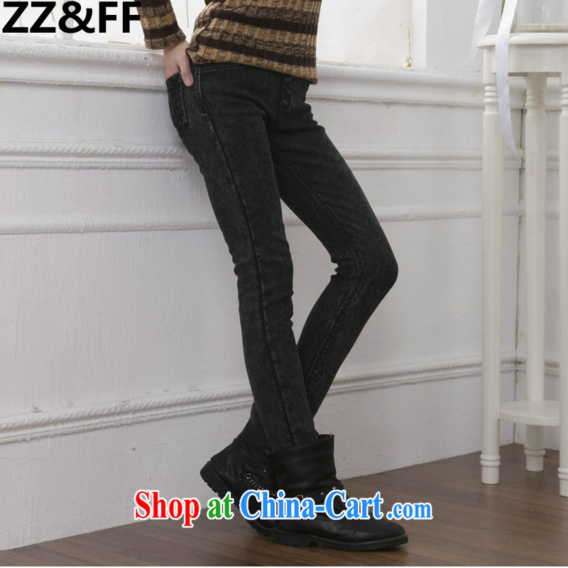 ZZ _FF autumn and winter, the lint-free cloth with thick jeans female Elastic waist graphics skinny legs pencil pants and indeed increase, female fat MM Korean black gray snowflake the lint-free cloth XXXXXL