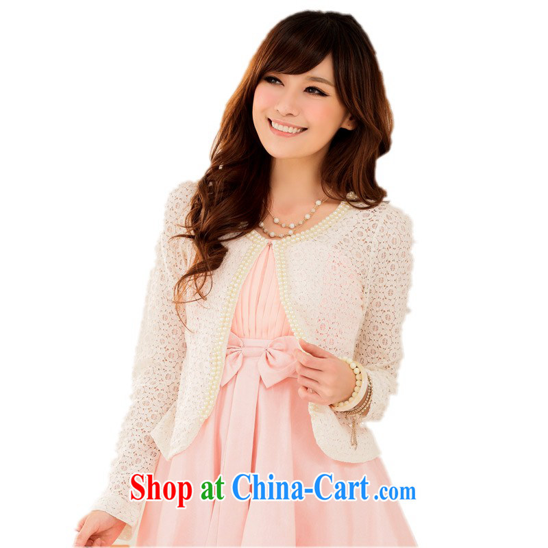 The delivery package mail as soon as possible early autumn 20,141 100 ground sweet exquisite nails Pearl long-sleeved shawl lace biological air quality dress small jacket larger graphics thin cardigan white XXXL