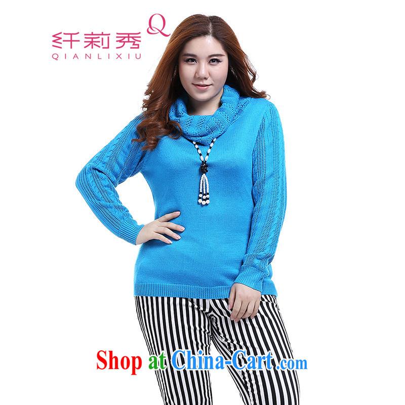 Slim LI Sau 2014 autumn new larger female leisure high-collar solid shirt sweater Q 6031 color blue XL