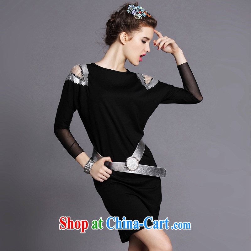 Focus on Europe and the MM code fall and winter new female 2014 graphics thin light, Openwork pin Pearl sense of long-sleeved dresses black 5 XL _90 - 100 _ KG