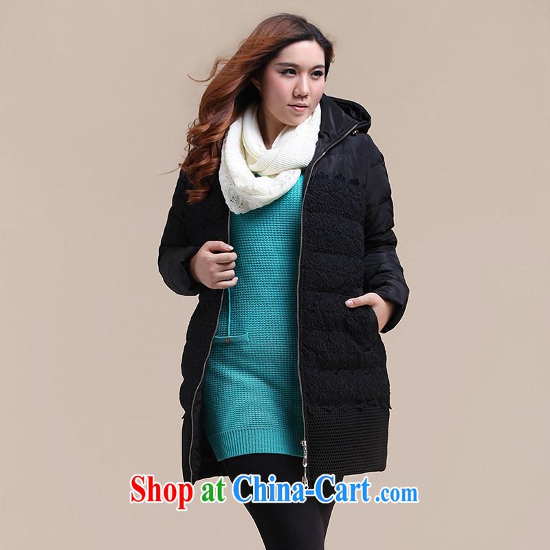 Slim LI Sau 2014 winter new larger female Korean beauty in thick long jacket Q 6039 black XL