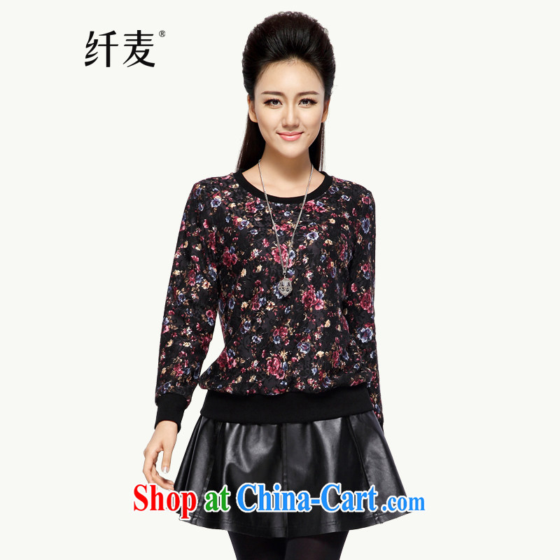 The Mak is the female 2014 winter clothing new thick mm stylish retro loose sweater girls head 944083058 black saffron 6 XL