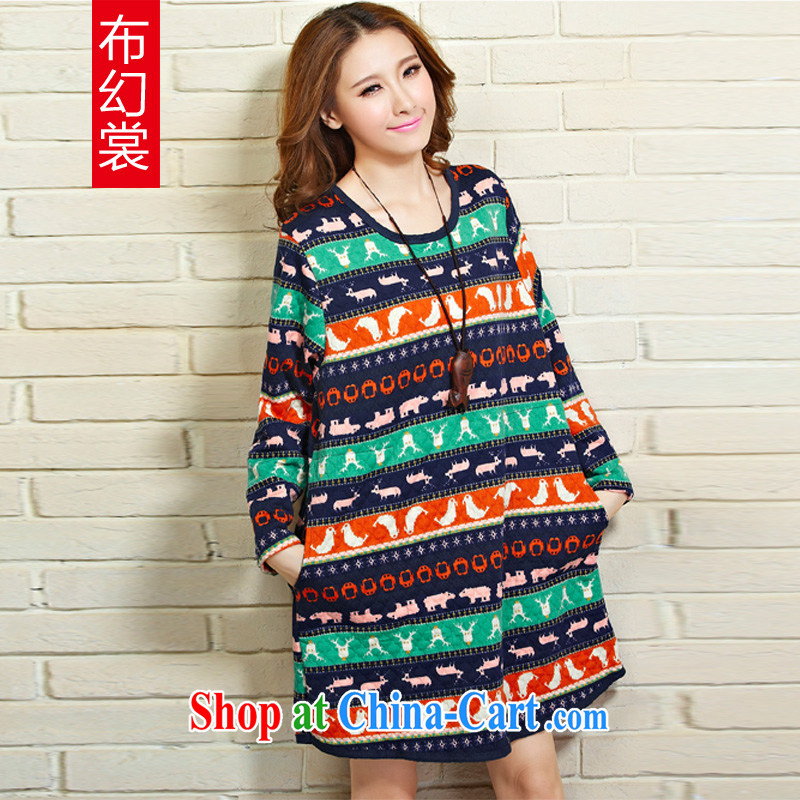 The Advisory Committee was larger female Korean autumn is the fertilizer increase Ethnic Wind thick long-sleeved shirt T TW 2193 color streaks XL