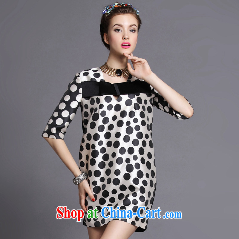 On the MM code 2014 autumn new women fashion with stylish graphics thin wave point in stamp duty cuff dress wave 3 XL _75 - 82.5 KG_