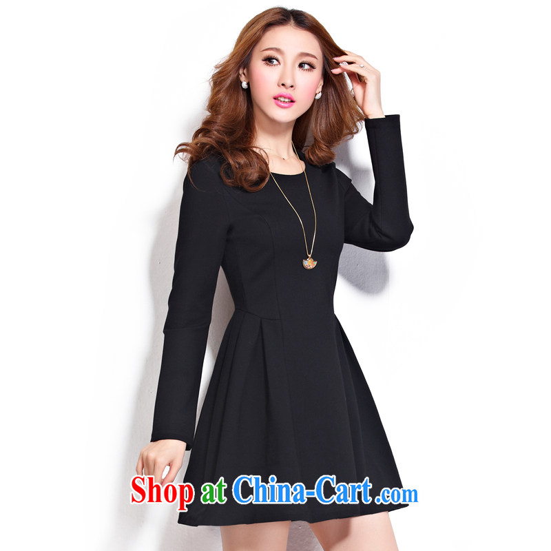 cheer for the code thick MM autumn and winter, the United States and Europe OL Solid Color thick sister graphics thin long-sleeved dress of the 2288 black 4XL