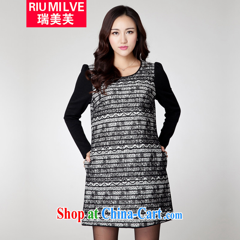 Ryan and the United States concluded the 2015 code female thick MM graphics thin new Korean version with lace stitching knocked color loose dress YF 063 black 3 XL _171 jack - 190 Jack through_