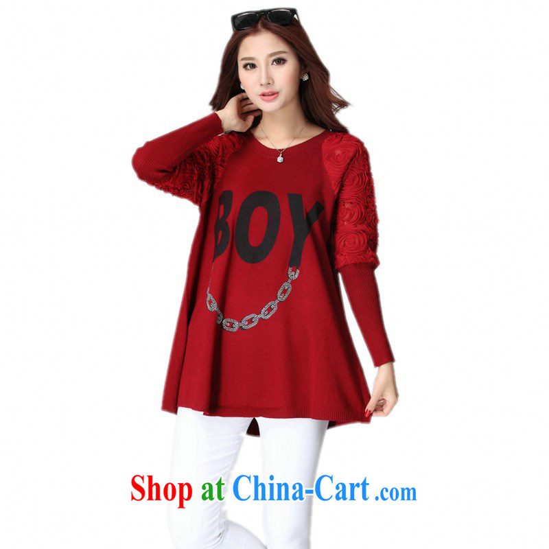 Land is the Yi Girls Pack E-Mail long T autumn 2014 the Korean leisure Letter Figure lace bat T-shirt graphics thin loose large code knitted shirts, maroon, code for 130 - 180 jack