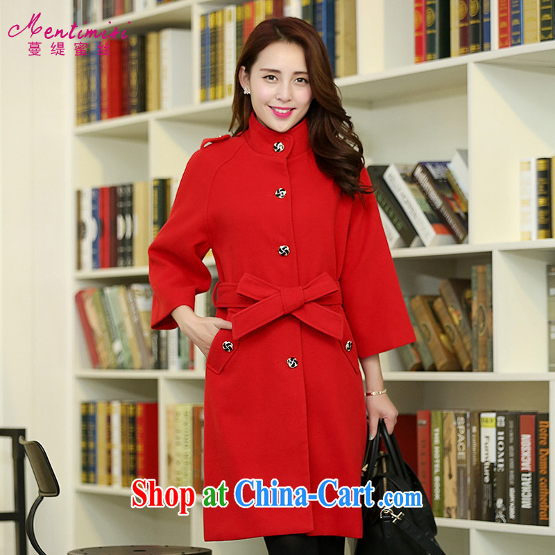Mephidross has long honey, and indeed increase, women with thick mm 2014 autumn and winter clothing new Korean Single Row buckle long hair that wind jacket 5044 red code 5 XL
