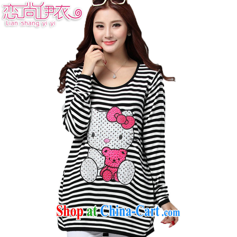 Land is still the Yi 2015 spring new cute cartoon strip stamp duty long-sleeved T-shirt solid T-shirt is the increased emphasis on sister knitted T-shirt women 3114 black-and-white streaks the color codes are codes of chest 100 - 118