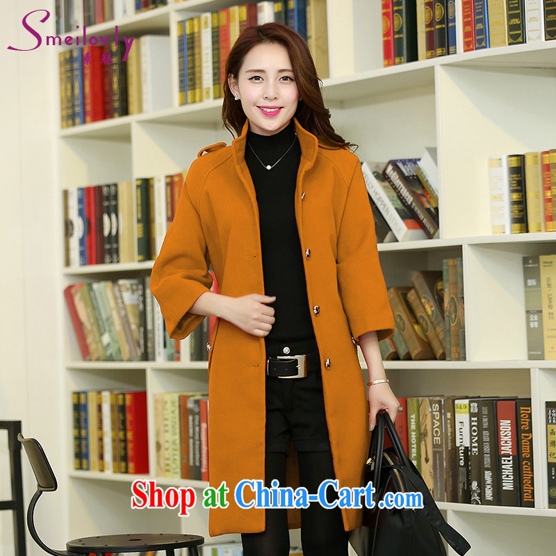 Staff of the fertilizer increase code girls with thick mm 2014 autumn and winter clothing new Korean Beauty graphics thin click the clip hair? wind jacket S 5044 orange 5 XL